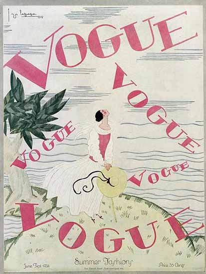 Roaring 1920s Georges Lepape Vogue Cover 1924-06-01 Copyright | Roaring 1920s Ad Art and Magazine Cover Art
