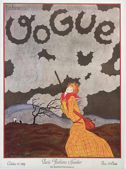 Roaring 1920s Georges Lepape Vogue Cover 1924-10-15 Copyright | Roaring 1920s Ad Art and Magazine Cover Art