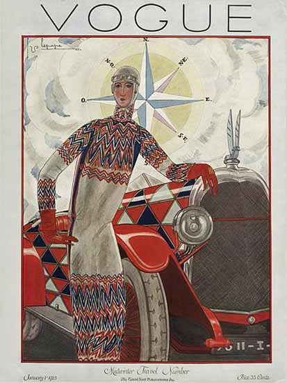 Roaring 1920s Georges Lepape Vogue Cover 1925-01-01 Copyright | Roaring 1920s Ad Art and Magazine Cover Art