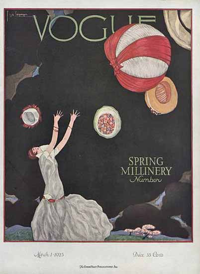 Roaring 1920s Georges Lepape Vogue Cover 1925-03-01 Copyright   Roaring 1920s Ad Art and Magazine Cover Art
