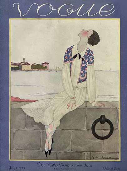 Roaring 1920s Georges Lepape Vogue Cover 1925-07-01 Copyright | Roaring 1920s Ad Art and Magazine Cover Art