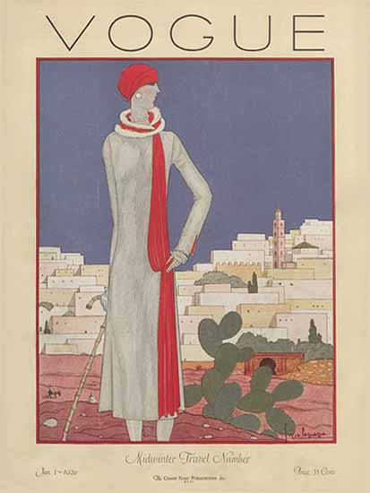 Roaring 1920s Georges Lepape Vogue Cover 1926-01-01 Copyright | Roaring 1920s Ad Art and Magazine Cover Art
