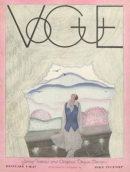 Roaring 1920s Georges Lepape Vogue Cover 1927-02-01 Copyright | Roaring 1920s Ad Art and Magazine Cover Art