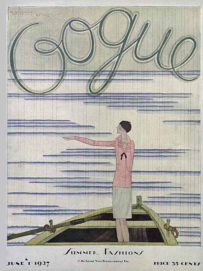 Roaring 1920s Georges Lepape Vogue Cover 1927-06-01 Copyright | Roaring 1920s Ad Art and Magazine Cover Art