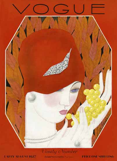 Roaring 1920s Georges Lepape Vogue Cover 1927-08-15 Copyright | Roaring 1920s Ad Art and Magazine Cover Art