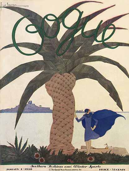 Roaring 1920s Georges Lepape Vogue Cover 1928-01-01 Copyright | Roaring 1920s Ad Art and Magazine Cover Art