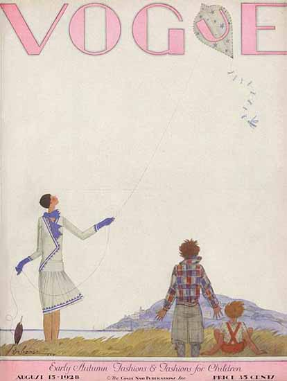 Roaring 1920s Georges Lepape Vogue Cover 1928-08-15 Copyright   Roaring 1920s Ad Art and Magazine Cover Art