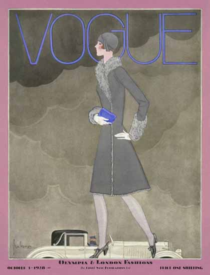 Roaring 1920s Georges Lepape Vogue Cover 1928-10-03 Copyright | Roaring 1920s Ad Art and Magazine Cover Art