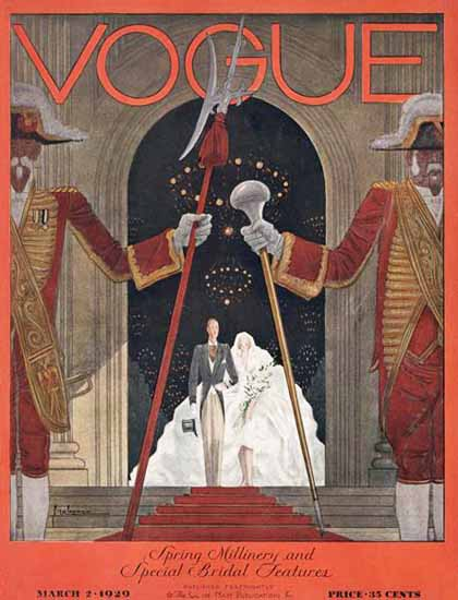Roaring 1920s Georges Lepape Vogue Cover 1929-03-02 Copyright | Roaring 1920s Ad Art and Magazine Cover Art