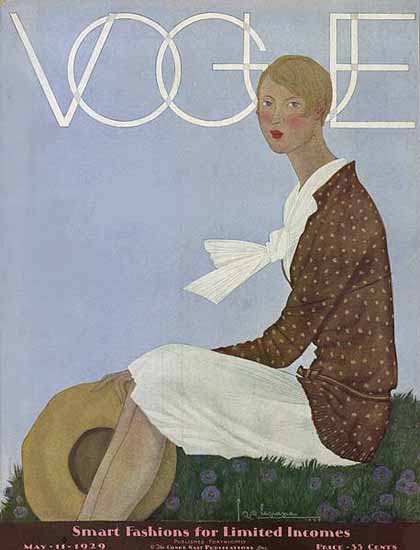 Roaring 1920s Georges Lepape Vogue Cover 1929-05-11 Copyright | Roaring 1920s Ad Art and Magazine Cover Art