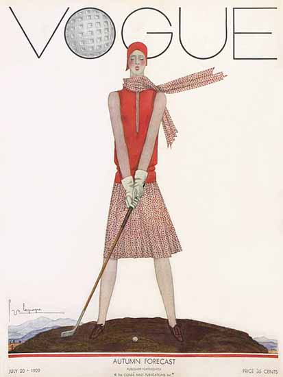 Roaring 1920s Georges Lepape Vogue Cover 1929-07-20 Copyright | Roaring 1920s Ad Art and Magazine Cover Art
