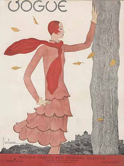 Roaring 1920s Georges Lepape Vogue Cover 1929-08-31 Copyright | Roaring 1920s Ad Art and Magazine Cover Art