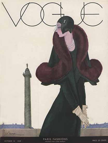 Roaring 1920s Georges Lepape Vogue Cover 1929-10-12 Copyright | Roaring 1920s Ad Art and Magazine Cover Art