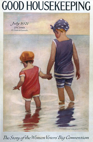 Roaring 1920s Good Housekeeping Copyright 1921 Kids At The Beach   Roaring 1920s Ad Art and Magazine Cover Art