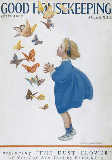 Roaring 1920s Good Housekeeping Copyright 1921 Little Girl Butterflies | Roaring 1920s Ad Art and Magazine Cover Art