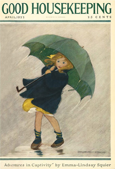 Roaring 1920s Good Housekeeping Copyright 1922 Little Girl In The Rain | Roaring 1920s Ad Art and Magazine Cover Art