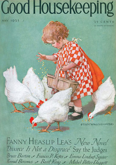 Roaring 1920s Good Housekeeping Copyright 1925 Girl Feeding Chickens   Roaring 1920s Ad Art and Magazine Cover Art