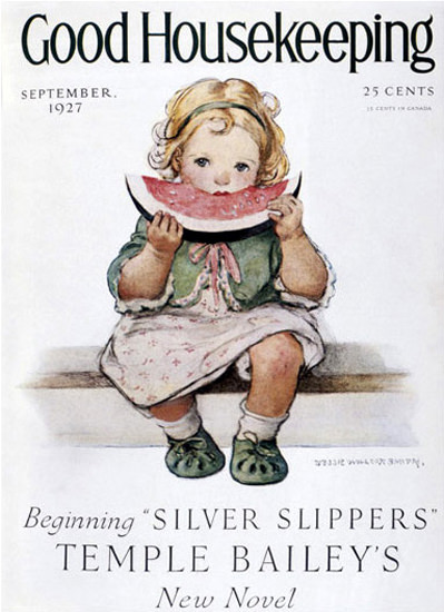 Roaring 1920s Good Housekeeping Copyright 1927 Girl And Watermelon | Roaring 1920s Ad Art and Magazine Cover Art