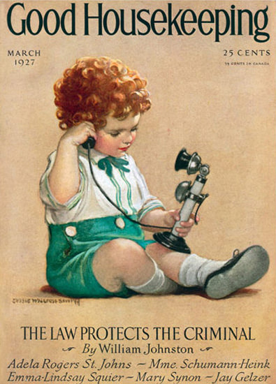 Roaring 1920s Good Housekeeping Copyright 1927 Little Boy Telephone | Roaring 1920s Ad Art and Magazine Cover Art