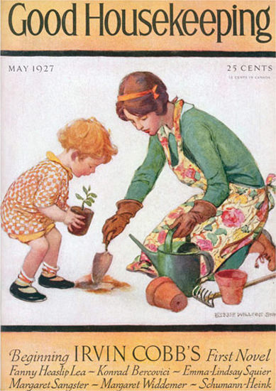 Roaring 1920s Good Housekeeping Copyright 1927 Little Girl Gardening | Roaring 1920s Ad Art and Magazine Cover Art