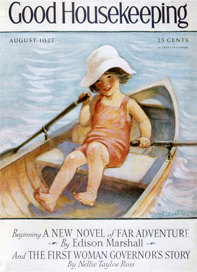 Roaring 1920s Good Housekeeping Copyright 1927 Little Girl In Rowboat | Roaring 1920s Ad Art and Magazine Cover Art