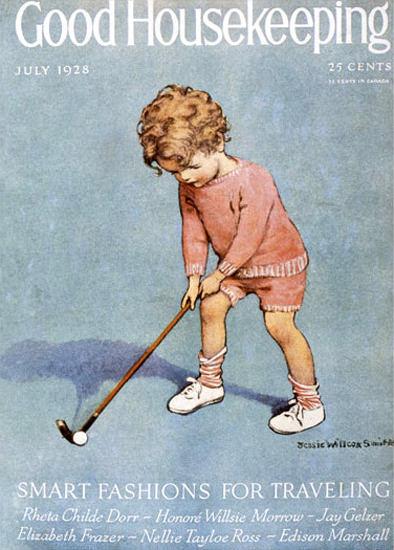 Roaring 1920s Good Housekeeping Copyright 1928 Kid Golfing   Roaring 1920s Ad Art and Magazine Cover Art