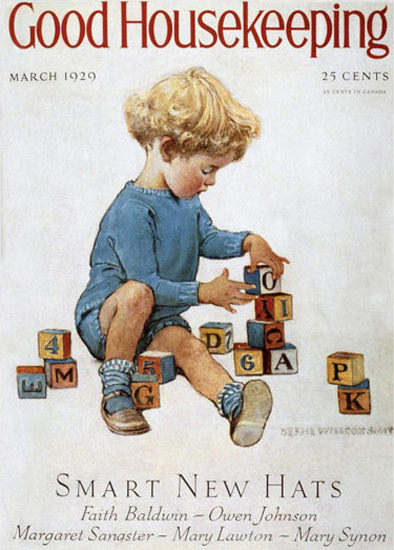 Roaring 1920s Good Housekeeping Copyright 1929 Little Boy Playing | Roaring 1920s Ad Art and Magazine Cover Art