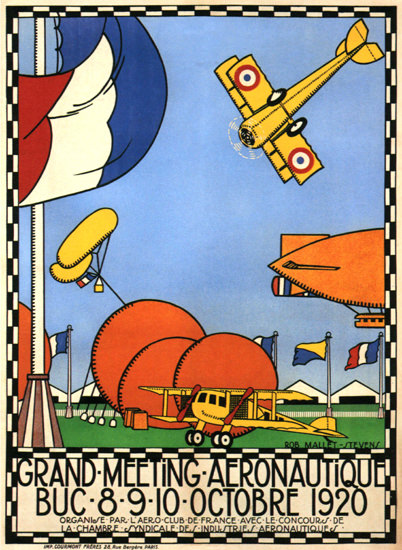 Roaring 1920s Grand Meeting Aeronautique 1920 Buc France | Roaring 1920s Ad Art and Magazine Cover Art