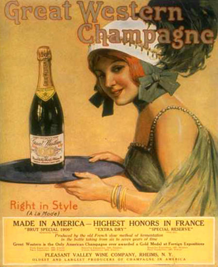 Roaring 1920s Great Western Champagne Girl 1920 | Roaring 1920s Ad Art and Magazine Cover Art