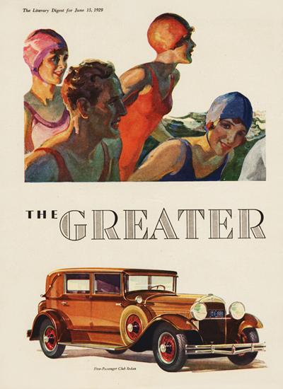 Roaring 1920s Greater Hudson Five P Club Sedan 1929 | Roaring 1920s Ad Art and Magazine Cover Art