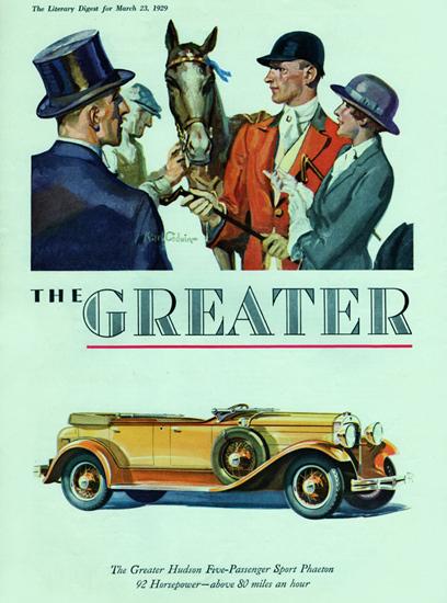 Roaring 1920s Greater Hudson Five P Sport Phaeton 1929   Roaring 1920s Ad Art and Magazine Cover Art