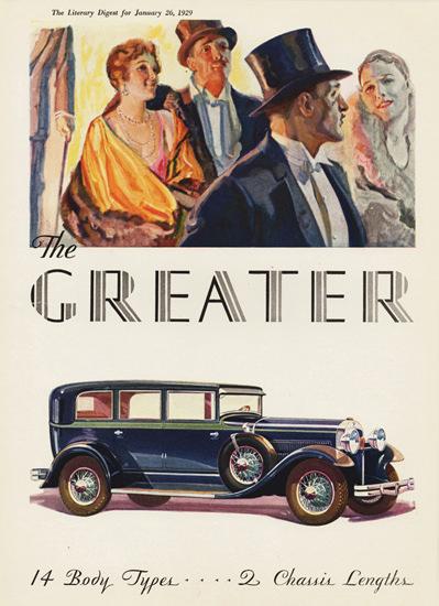 Roaring 1920s Greater Hudson Seven P Sedan 1929 | Roaring 1920s Ad Art and Magazine Cover Art