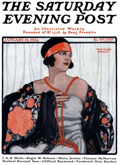Roaring 1920s Guernsey Moore Saturday Evening Post 1924_01_19 | Roaring 1920s Ad Art and Magazine Cover Art