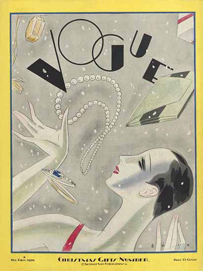 Roaring 1920s Guillermo Bolin Vogue Cover 1926-12-01 Copyright | Roaring 1920s Ad Art and Magazine Cover Art