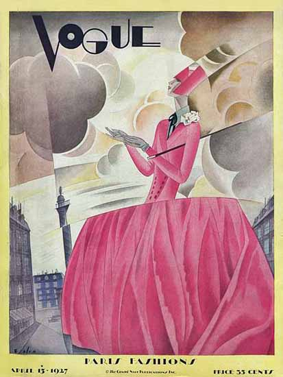 Roaring 1920s Guillermo Bolin Vogue Cover 1927-04-15 Copyright | Roaring 1920s Ad Art and Magazine Cover Art