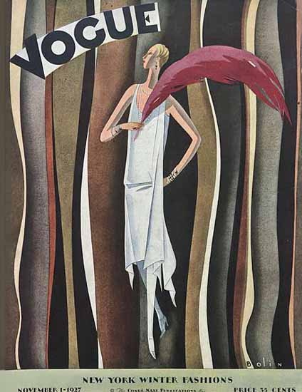 Roaring 1920s Guillermo Bolin Vogue Cover 1927-11-01 Copyright | Roaring 1920s Ad Art and Magazine Cover Art