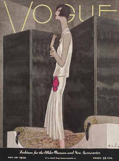 Roaring 1920s Guillermo Bolin Vogue Cover 1928-11-10 Copyright | Roaring 1920s Ad Art and Magazine Cover Art