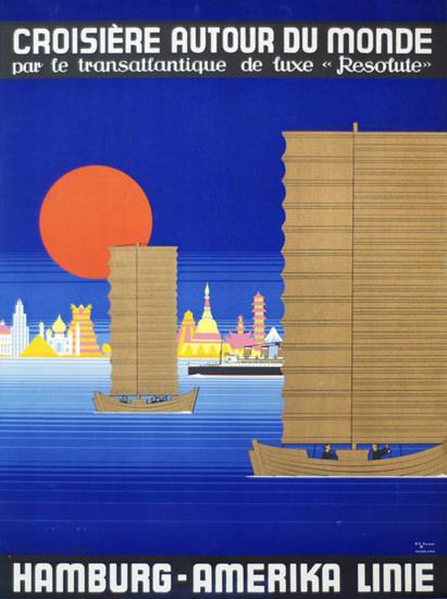Roaring 1920s Hamburg-Amerika Linie Croisiere Autour 1928   Roaring 1920s Ad Art and Magazine Cover Art