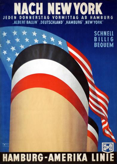 Roaring 1920s Hamburg-Amerika Linie HAPAG New York 1927 | Roaring 1920s Ad Art and Magazine Cover Art