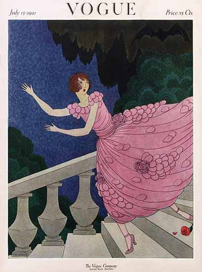 Roaring 1920s Harriet Meserole Vogue Cover 1921-07-15 Copyright | Roaring 1920s Ad Art and Magazine Cover Art