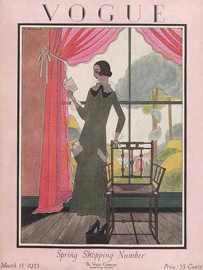 Roaring 1920s Harriet Meserole Vogue Cover 1923-03-15 Copyright | Roaring 1920s Ad Art and Magazine Cover Art