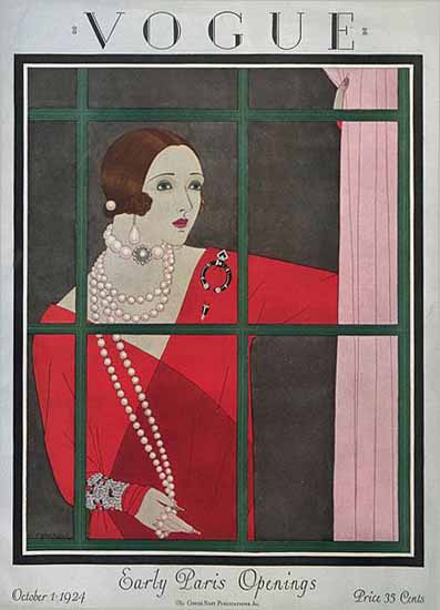 Roaring 1920s Harriet Meserole Vogue Cover 1924-10-01 Copyright | Roaring 1920s Ad Art and Magazine Cover Art