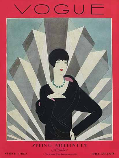Roaring 1920s Harriet Meserole Vogue Cover 1927-03-01 Copyright | Roaring 1920s Ad Art and Magazine Cover Art