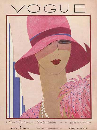 Roaring 1920s Harriet Meserole Vogue Cover 1927-05-15 Copyright | Roaring 1920s Ad Art and Magazine Cover Art
