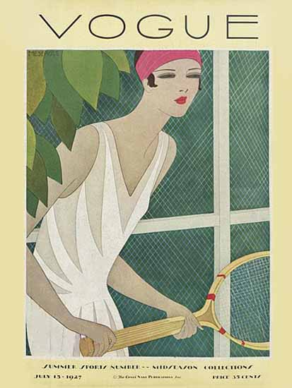 Roaring 1920s Harriet Meserole Vogue Cover 1927-07-15 Copyright   Roaring 1920s Ad Art and Magazine Cover Art