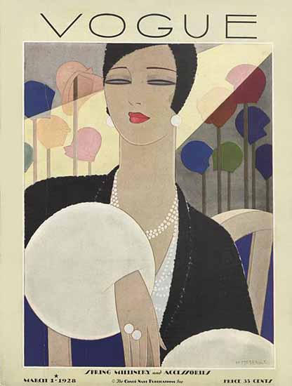 Roaring 1920s Harriet Meserole Vogue Cover 1928-03-01 Copyright | Roaring 1920s Ad Art and Magazine Cover Art