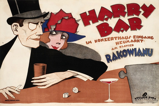 Roaring 1920s Harry Bar Konzerthaus Heumarkt Wien 1920s | Roaring 1920s Ad Art and Magazine Cover Art