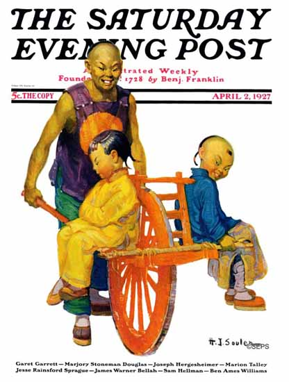 Roaring 1920s Henry J Soulen Saturday Evening Post Cover 1927_04_02 | Roaring 1920s Ad Art and Magazine Cover Art