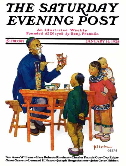 Roaring 1920s Henry J Soulen Saturday Evening Post Cover 1928_01_14 | Roaring 1920s Ad Art and Magazine Cover Art