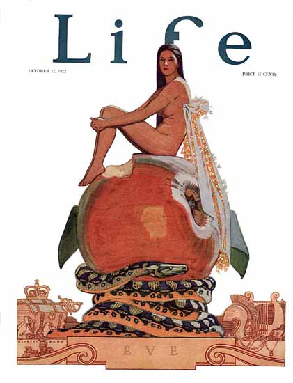 Roaring 1920s Herbert Paus Life Magazine Eve 1922-10-12 Copyright | Roaring 1920s Ad Art and Magazine Cover Art